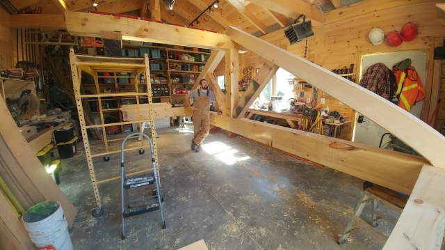 Fitting a freshly cut truss in our Peterborough, ON shop.